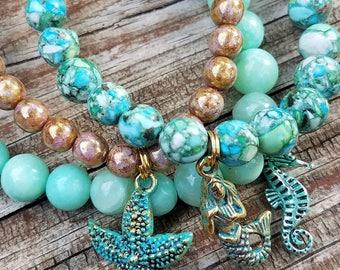 Beachy Boho Stack Bracelet, Mermaid, Starfish, Seahorse, stack bracelets, Blue Agate, Blue Jasper, Golden Czech Picasso glass beads.