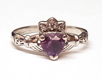 Claddagh Ring with Birth Stone in Sterling Silver