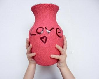 Vase rosa / pink Wohnkultur / Handarbeit Vase / Rosa Flower Vase / Geschenk der Liebe / Liebe Geschenk / love Vase