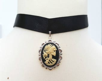 Skeleton Lady cameo choker necklace black ribbon pirate skull Day of the Dead