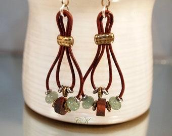 Gemstone and Leather Earrings Long Leather Hoop Earrings Boho Dangle Earrings Gypsy Style Earrings Sundance Style Bead Pierced Earrings