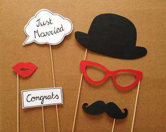 For wedding photobooth props: bowler hat, mustache...