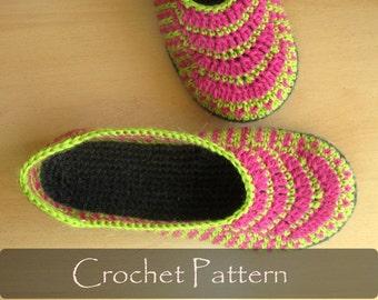CROCHET PATTERN - Ethnic Slippers Crochet Pattern Women House Slippers Pattern Warm Home Shoes Pattern Women Sizes 3-10 PDF - P0038