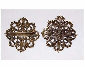 Filigree finding brooch Antique bronze 42mm Filigree base with Pin Back would make a nice setting for beads or glueing cabs or cameos 510x