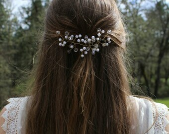 Gold Baby's Breath Bridal Hair Accessory, Gold Bridal Hair Vine, Small hair vine, Hair piece