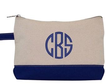 Monogram Make Up Bag - Monogrammed Makeup Canvas Bag - Monogrammed Make Up Bag - Personalized Travel Bag -Monogram Bridesmaids Gift, NAVY