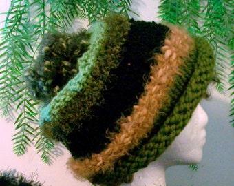 HAT WOMEN KNITTED  Ski Hat    Women  Winter  Warm  Girls  Teens  Snow  Head  Accessory  Soft  Green  Brown  Tan  Beads  Leather trim