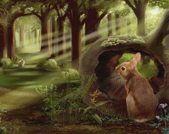 Springtime in the Woods Rabbit Print of Original Illustration