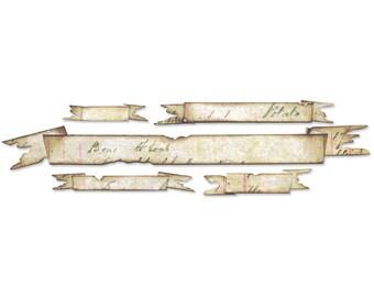 "Sizzix Sizzlits Tim Holtz Decorative Strip Die - Tattered Banners 12.625""X2.375"" #657179"
