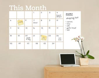 Dry Erase Wall Calendar with Memo, Dry Erase Wall Decals, Monthly Planner, Monthly Calendar - by Simple Shapes