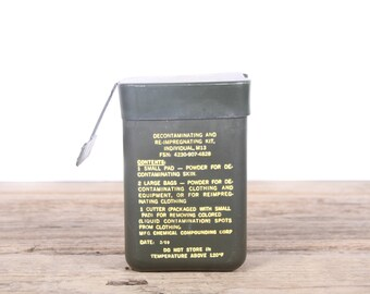 Vintage 1969 Vietnam Era Decontaminating and Re-Impregnating Kit M13 / Military Army Collectible / Military Gifts / Camping Outdoor Gear