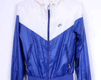 Nike Womens S Jacket Cream Blue Hooded Zip Up Lightweigth Sport Top