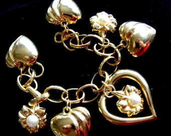 Vintage Puffy Heart and Pearl Charm Bracelet