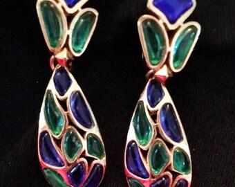 Trifari Modern Mosaics Poured Glass Earrings