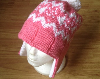 Splatoon Inspired Squid Nordic Laplander Style Earflap Knit Hat - Pink - For Costume or Cosplay