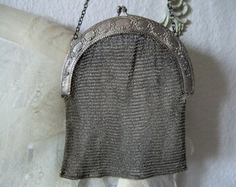 Antique 800 Silver Evening purse theater Bag vintage silver bag with rose decor