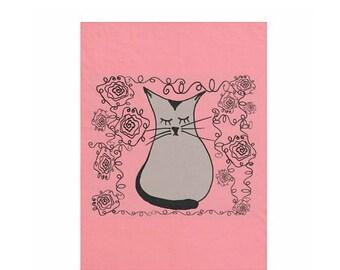 50x60 Ohm kitty cat fleece blanket pink and black rose garden roses cat lover cat lady garden