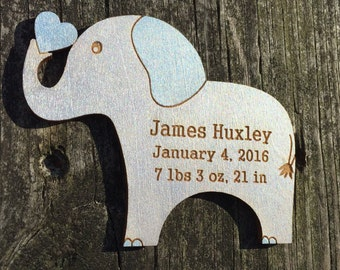 Personalized New Baby Gift: Elephant Magnet/Baby Birth Info Keepsake/Baby Boy Gift/Baby Birth Stats/Silver and Blue