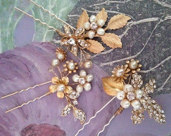 Crystal Pearl Hair Pins, Wedding Hair Accessory, Rhinestone Hair Pins, Custom Bridal Hair Pin Set with Rhinestone Leaves