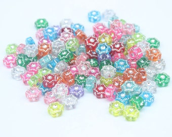 25 Mixed Colour Acrylic Hexagon Shaped Silver Rhinestone Crystal beads 9mm