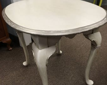 Silver-Detailed Side Table