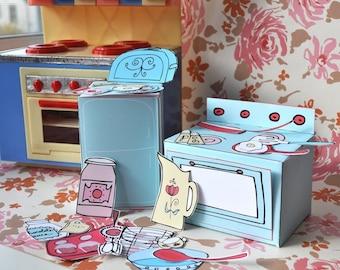 Mini-Play Toy Paper Kitchen PDF Printable Pattern