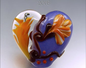CORAL & ORANGE Heart Glass Bead Lampwork Pendant Focal Handmade Jewelry Supplies - by Stephanie Gough sra fhfteam leteam