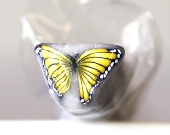 Yellow Butterfly Cane, Polymer Clay Flutterby Cane, Raw Unbaked Clay