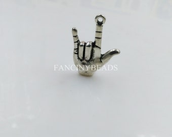 I love you hand sign charms -F1400-15 PCS