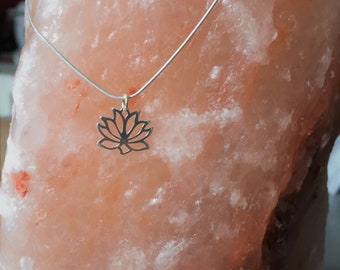 Necklace with snake chain, lotus flower, sterling silver, minimalist