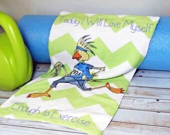 Séance d'entraînement serviette Inspiration aujourd'hui que je vais amour moi-même assez d'exercice Lime chevrons Turquoise Bleu Fitness 11 x 18