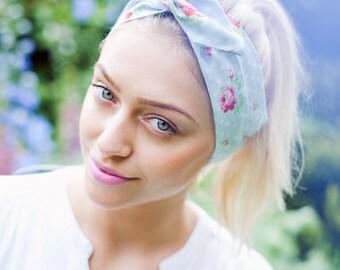 Floral Wire Headband, Polka Dot Floral Dolly Bow, Pin up Rockabilly Hair Wrap, Vintage Floral Headband, Cute Headband, Girly Hair Accessory