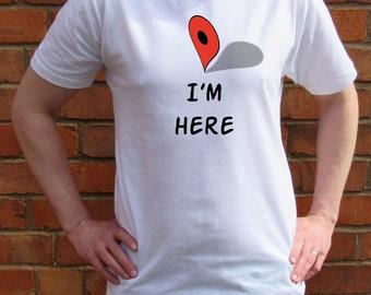 I am here men T-shirt-Navigation-Funny Tshirt-Crew Neck-Gift for Him