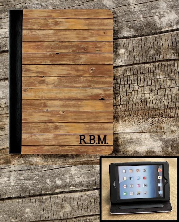 Gifts for Men iPad Air iPad 2 iPad 3 iPad Mini Folio Case Cover Personalized Custom Adjustable Angle Rustic Masculine Gifts for Him