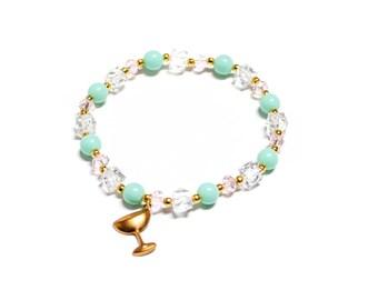 SALE Retro Martini Glass Mint & Gold Beaded Bracelet