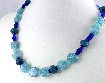 Seafoam and cobalt blue glass beaded necklace with matching earrings