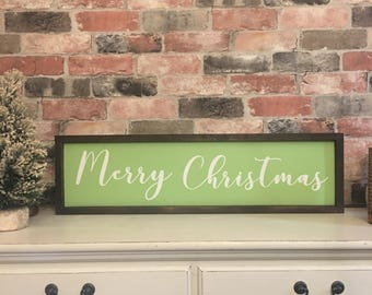 Merry Christmas painted solid wood sign