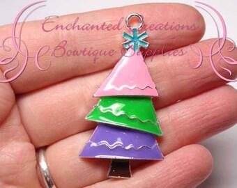 "2"" Topsy Turvy Christmas Tree, Pink, Green, Lavender, Winter Chunky Pendant, Keychain, Bookmark, Zipper Pull, Chunky Jewelry, Purse Charm"