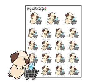 Planner Stickers Pug Grocery Cart