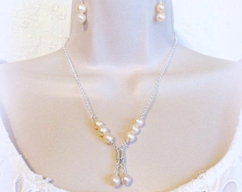 Pearl Jewelry, Sterling Silver Bridal Necklace set, Dangle Jewelry, Bridal Jewelry, Gift for Her, Pearl necklace set
