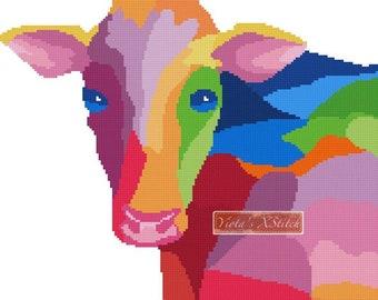 Rainbow cow - modern cross stitch kit, colourful
