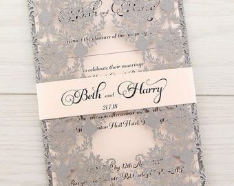 MUESTRA * Rosa corte invitaciones de la boda, venda del vientre, Coral y gris