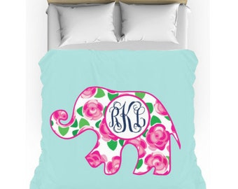 Monogram Bedding - Floral Elephant Comforter w/matching cases - Teen Bedding Set - Personalize with Name or Monogram