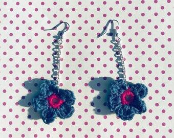 Crochet floral earrings