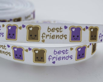 "Best Friends Peanut Butter and Jelly Grosgrain Ribbon 7/8"" Wide"