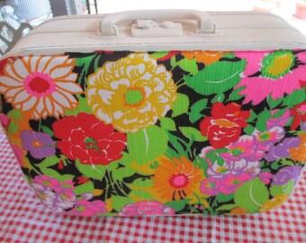 Upcycled Suitcase, Wedding Card Box, Hawaiian Suitcase, Vintage Luggage, Flowers, Mod