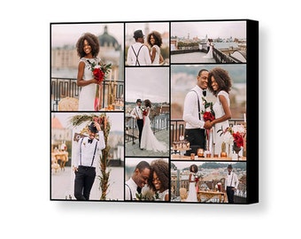 Custom Wedding Photo Collage - 16x20 Giclée Print on Canvas - Collage Using 8 of Your Favorite Wedding Photos - Wedding Gift - Made in USA