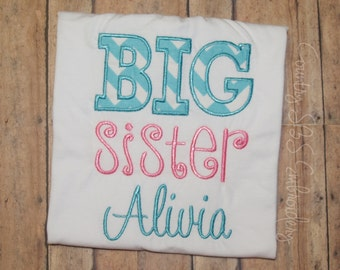 Big Sister Applique Embroidery Design 5x7 -INSTANT DOWNLOAD-