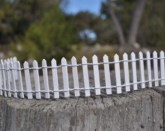 White Picket Fence+Fairy Garden Supply+Fairy Garden Accessory