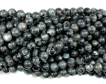 Black Labradorite Beads, Larvikite, Round, 6mm (6.4mm), 15.5 Inch, Full strand, Approx 62 beads, Hole 1mm (137054002)